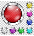 Set of transparent glass buttons vector image