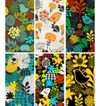 Set of vertical cards with birds and flora vector image