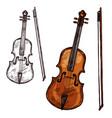 sketch violin contrabass music instrument vector image vector image