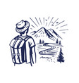 tourist stands and looks at mountains man vector image