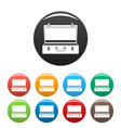 travel case icons set color vector image