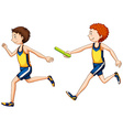 Two running doing relay race vector image vector image