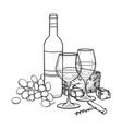 two watercolor glasses of wine bottle grapes vector image