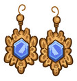 vintage earrings with gemstone gold jewelry set vector image