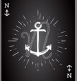 vintage label with an anchor and letter made of vector image vector image