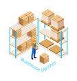 warehouse logistics isometric design vector image vector image
