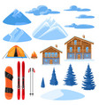 winter set for design alpine chalet houses vector image