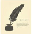 writing old feather with ink vector image vector image