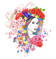 beautiful fashion young woman with flowers in hair vector image