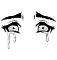 beautiful crying eyes sketch vector image