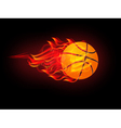 basketball on fire vector image vector image