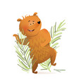 bear dancing in forest funny wild kids character vector image vector image