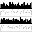 black and linear city silhouettes set of vector image
