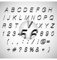 Calligraphic black grunge alphabet vector image