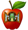cartoon caterpillar in the apple house vector image