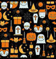 cartoon halloween seamless pattern vector image