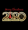 christmas 2020 new year gold card background vector image