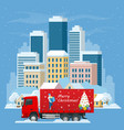 christmas and new year delivery truck christmas vector image vector image