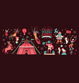 collection of circus tent and funny show vector image