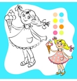 Coloring book - small pretty girl with ice cream vector image