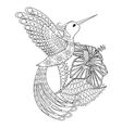 coloring page with hummingbird in hibiskus vector image vector image