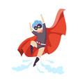 cute boy wearing superhero costume flying super vector image vector image