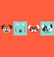 draw dog face set vector image