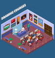 drawing courses isometric composition vector image vector image