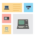 flat icon laptop set of computing pc notebook vector image vector image