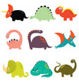 funny cartoon dinosaurs collection vector image vector image