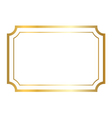 Gold frame golden white vector image