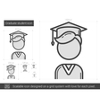 Graduate student line icon vector image vector image
