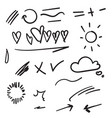 hand drawn set elements for your design vector image vector image