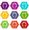 horseshoe icons set 9 vector image vector image