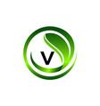 leaf initial v logo design template vector image vector image