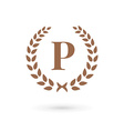 Letter P laurel wreath logo icon design template vector image vector image