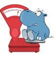 little hippo and a weighing scale Cartoon vector image vector image