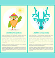 merry christmas greeting card owl and reindeer vector image