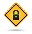 padlock road sign vector image vector image