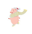 piglet in scarf and hat skating isolated on white vector image