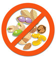 prohibition sign with beans beans and peanuts vector image vector image