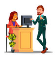 reception cute girl behind the desk reception vector image