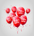 red balloons discount sale concept for shop market vector image vector image