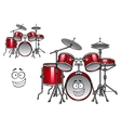Red drum kit cartoon character vector image