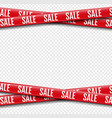 red promotional sale ribbon transparent background vector image vector image