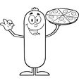 Sausage Cartoon with Pizza vector image vector image