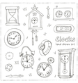 set doodle sketch clocks and watches vector image vector image