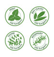 set of herbs labels 100 organic vector image vector image