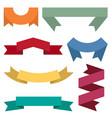 set of seven colorful ribbons and banners vector image