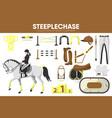 steeplechase sport equipment horse racing rider vector image vector image